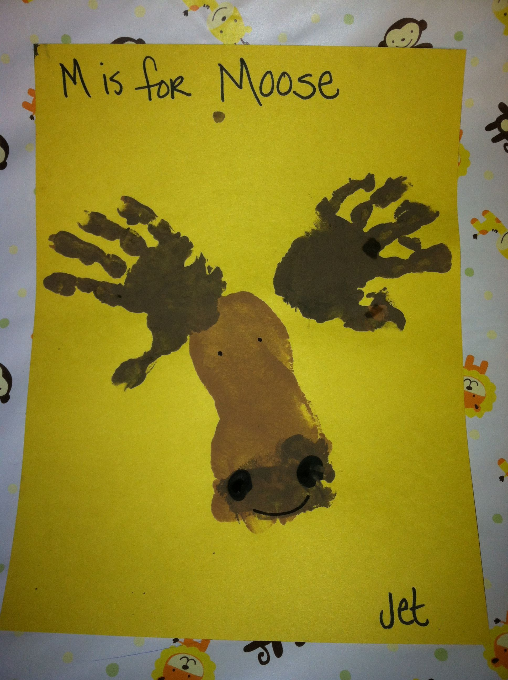 letter m preschool craft hand and foot moose