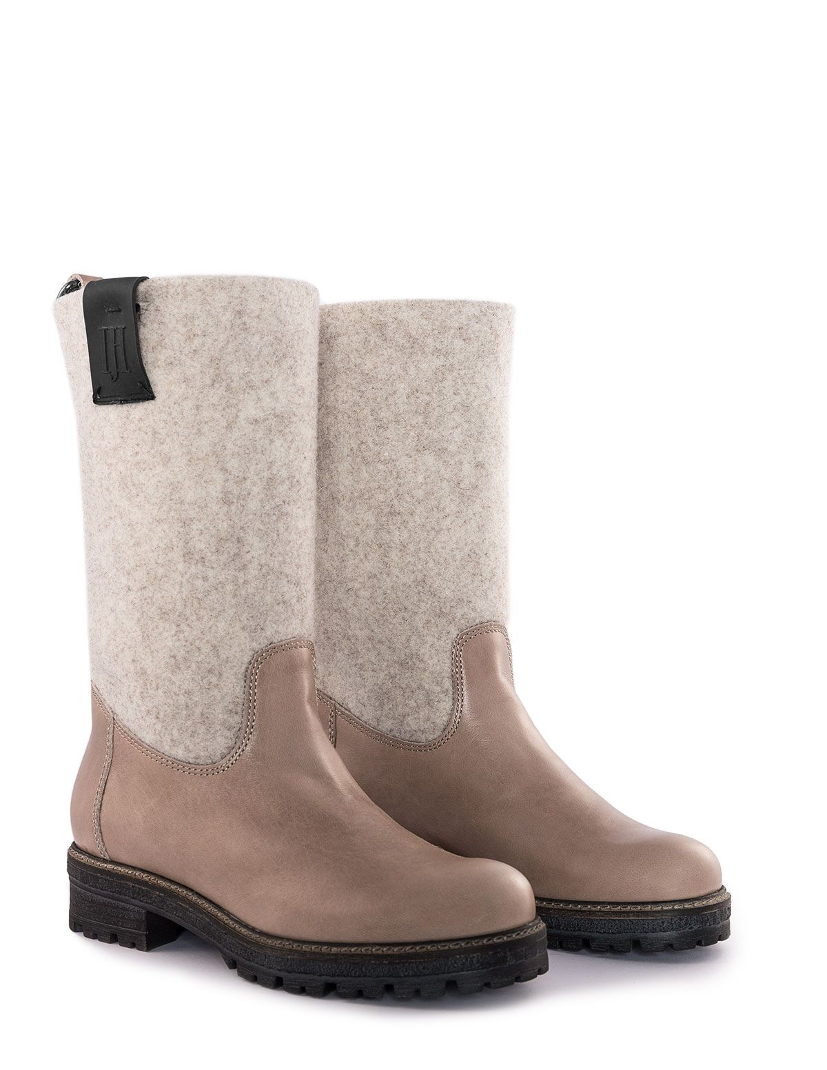 Ilse Jacobsen Leather and felt boots in Beige | Felt boots