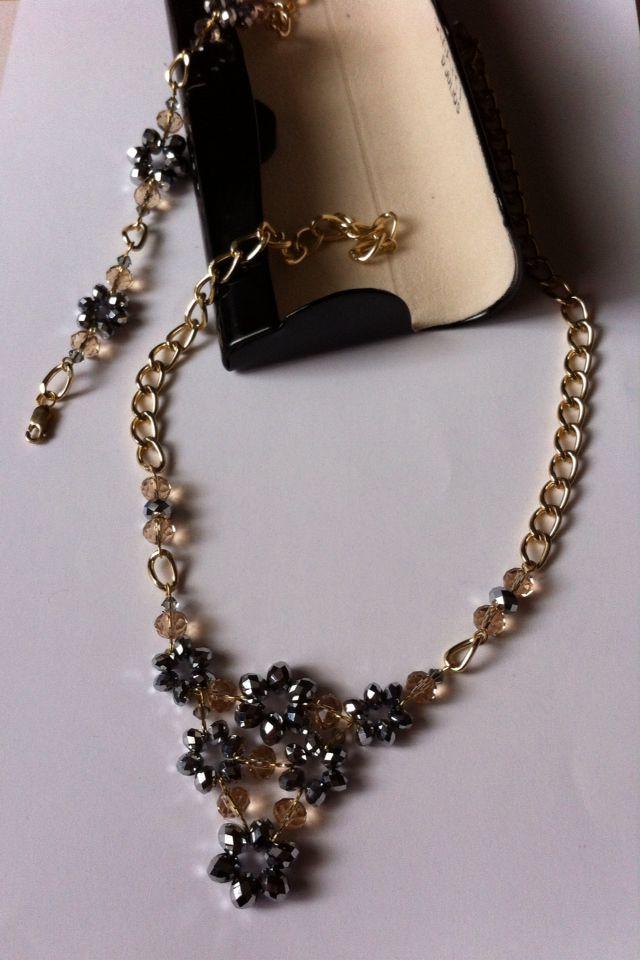 Collar gris cristal tipo swarowsky Sagata Joyería necklace gray