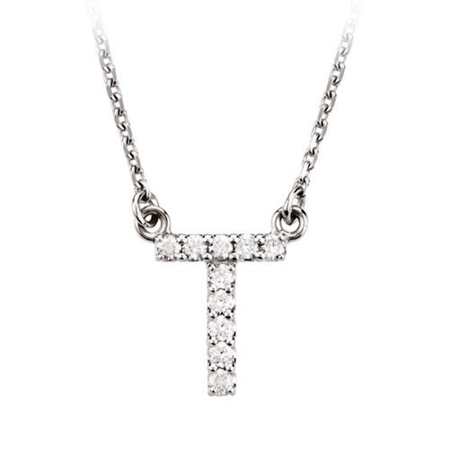 1/10 Cttw G-H, I1 Diamond initial Necklace in 14k White