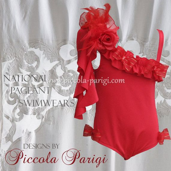 35% Sale New Amazing Piccola Parigi National Pageant one piece girls swimwear swimsuit in Red