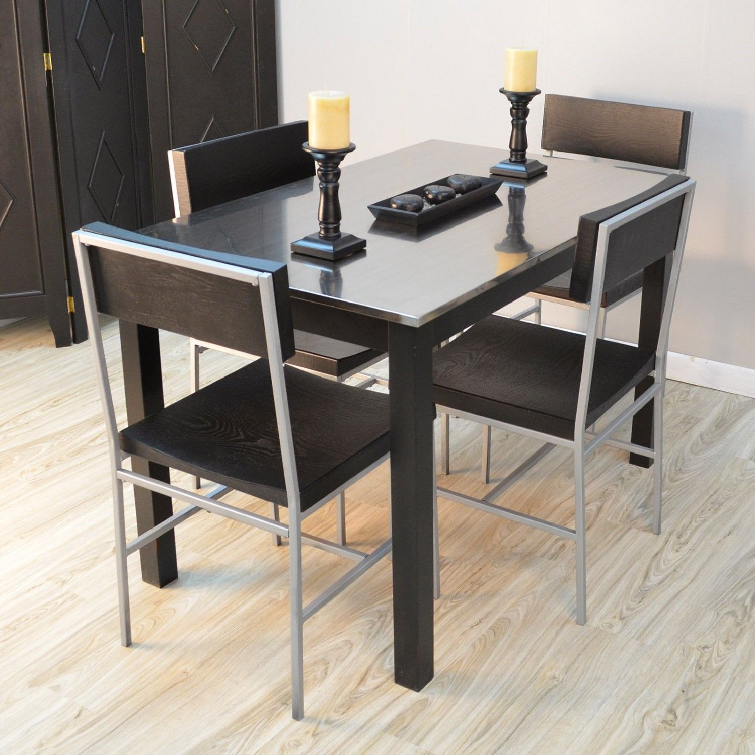 Carolina Morgan Stainless Steel Top Dining Table Steel Dining