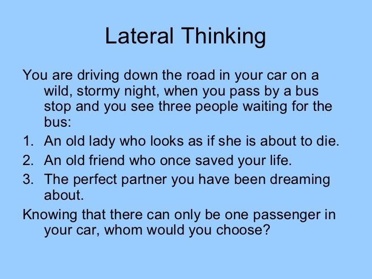 Lateral Thinking, one of the strands we covered during the course ...