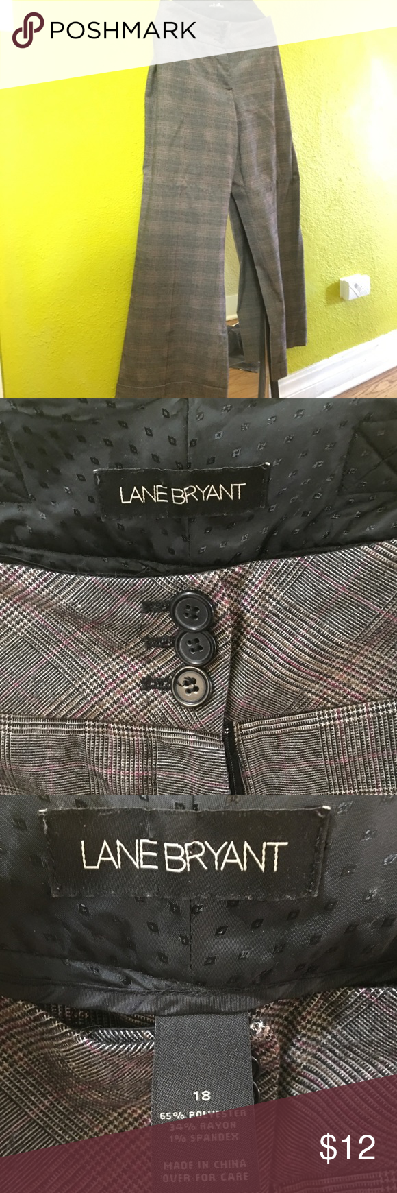 Lane Bryant wide leg dress pants These plaid dress pants are made up of a subtle combination of black, gray, and red. Some slight pilling in the thighs; otherwise they are in good condition. Lane Bryant Pants Wide Leg