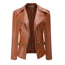 Women Fashion Leather Zipper Coat Turn-down Collar Locomotive ...