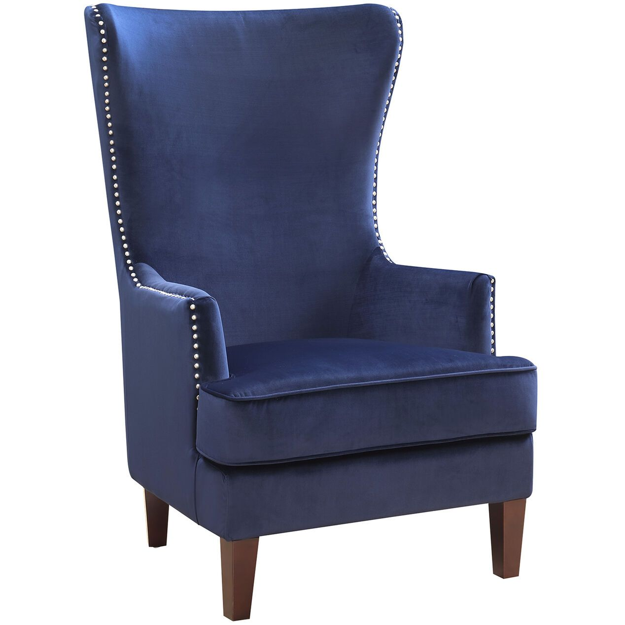 Best Kori Upholstered High Back Dark Blue Accent Chair Blue 400 x 300