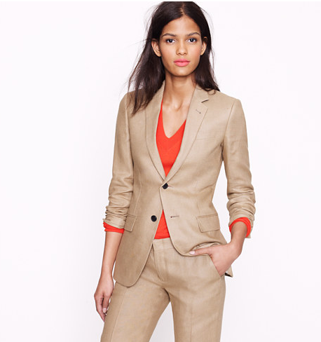 Womens Camel Tan Suit With Orange Coral Shell Layer My Take On