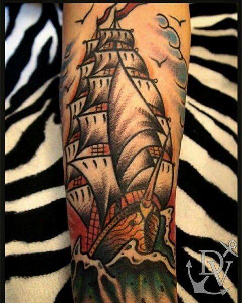 Old school ship tattoo #oldschool #oldschooltattoo #traditionaltattoo #traditional #traditionalflash #ship #shiptattoo #boldtattoos #boldlines #oldlines #colourtattoo #vintage #nauticaltattoo #athens #blackroseathenstattoo #psirri by dimitris_v_tattooer