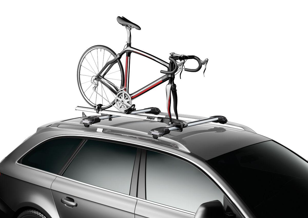 Thule fork mount bike rack to carry bikes on roof racks