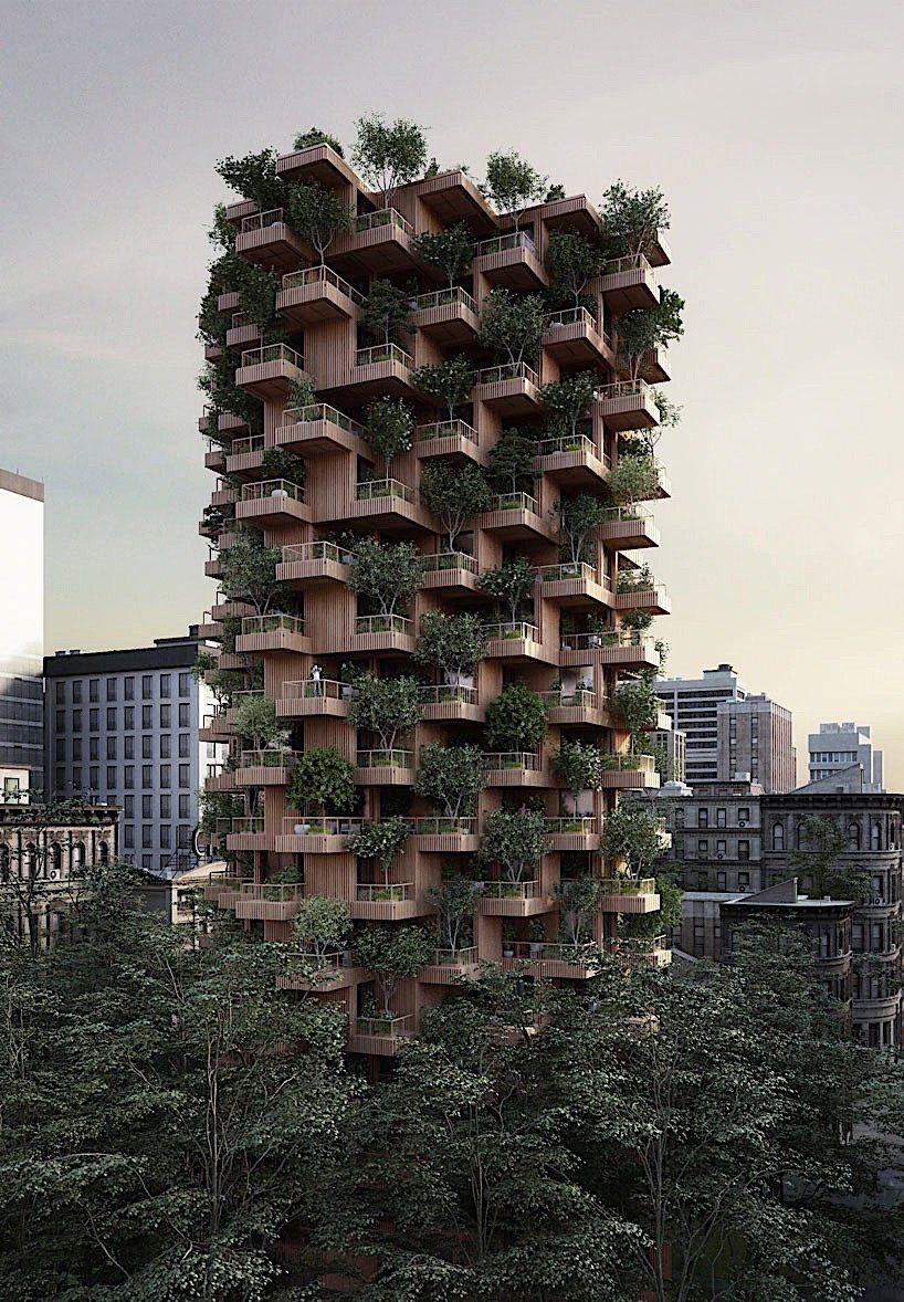 Penda konzipiert ein hochhaus aus holz den mitarbeitern for Architektur oder innenarchitektur