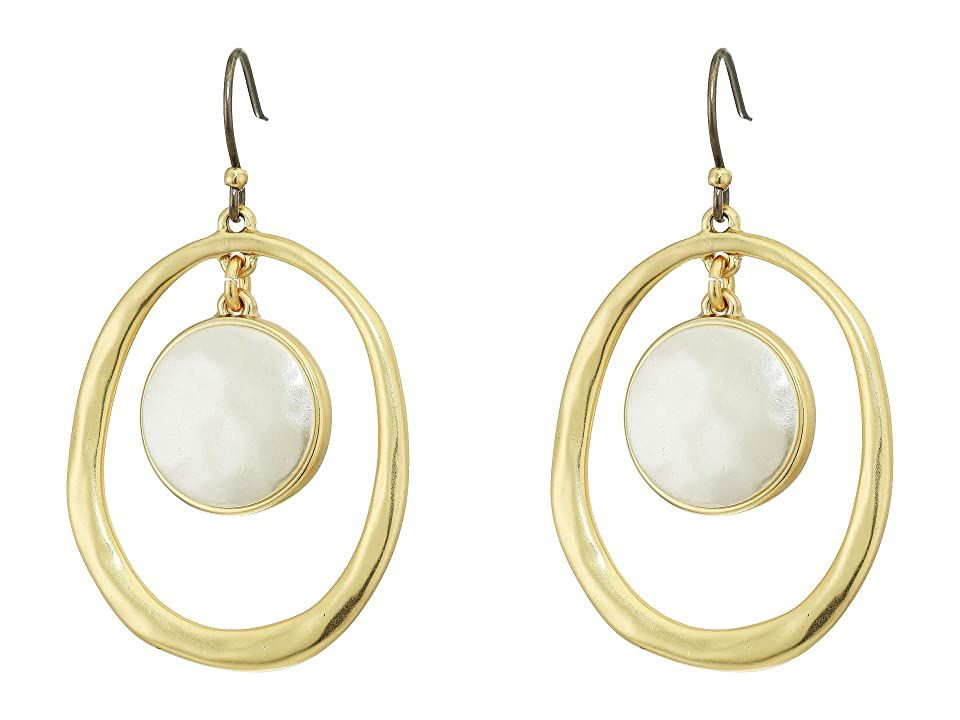 Lucky Brand Orbital Pearl Drop Earrings Gold