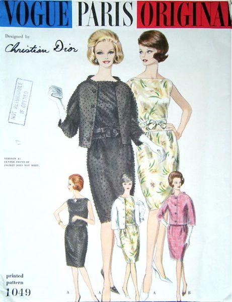 1960 Christian Dior patrón de juego - Vogue 1049   vintage patterns ...