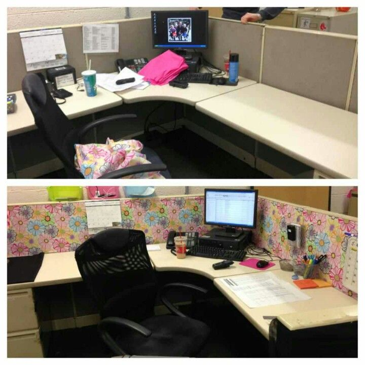 Cubicle makeover!  Fabric & fabric spray glue was all we needed!