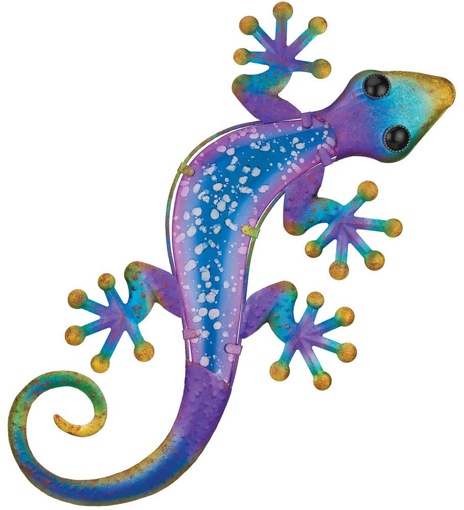 Lizard Gecko Hanging Wall Art Decor Blue Purple Glass Metal 19 H