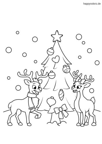 Rentiere Und Weihnachtsbaum Ausmalbild Weihnachtsmalvorlagen Ausmalbilder Weihnachten Ausmalbilder