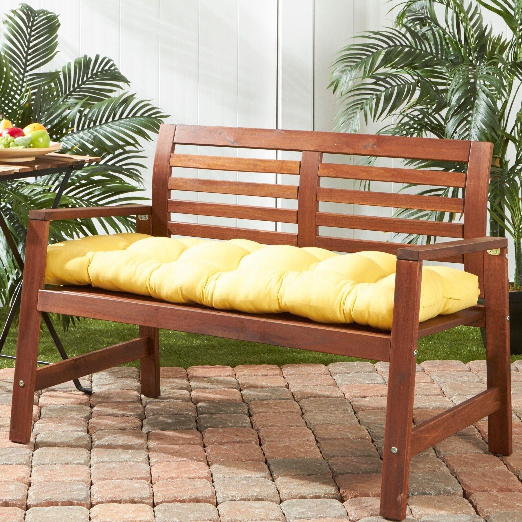 51 Inch Outdoor Sunbeam Bench Cushion Suncrest Yellow Plastic