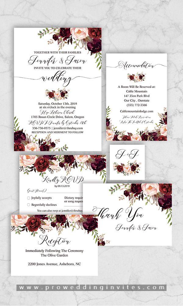 marsala wedding invitations, elegant wedding invitations, rustic wedding invitations