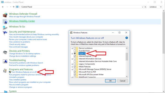 hyper v control panel Windows 10 Windows defender