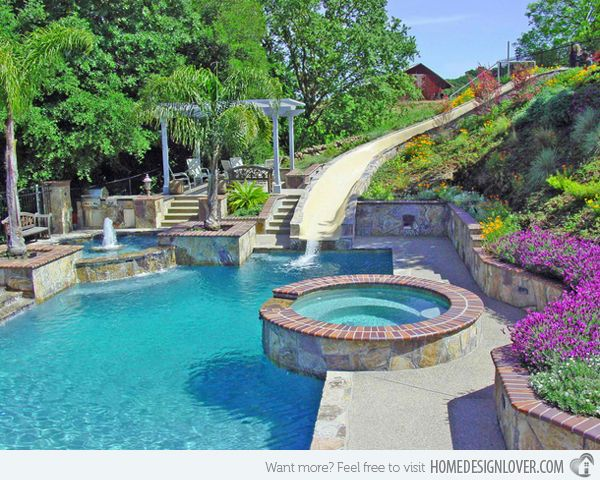 Mansions With Pools And Waterslides 15 gorgeous swimming pool slides | home design, home and swimming