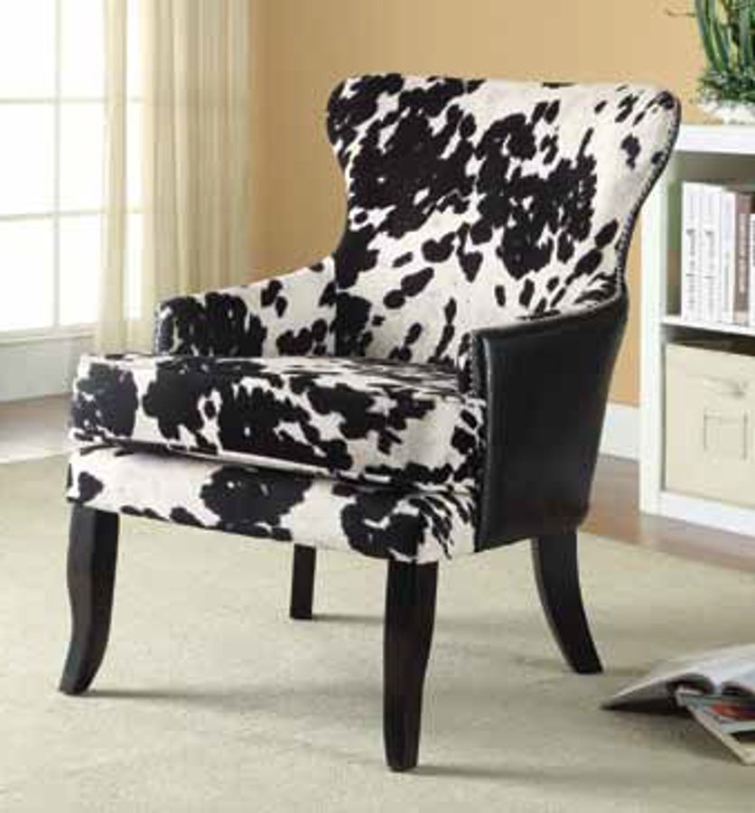 Coaster Furniture Black White Faux Leather Accent Chair With