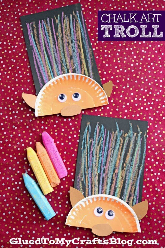 Paper Plate & Chalk Art Troll Hair - Kid Craft Idea - Glued To My Crafts