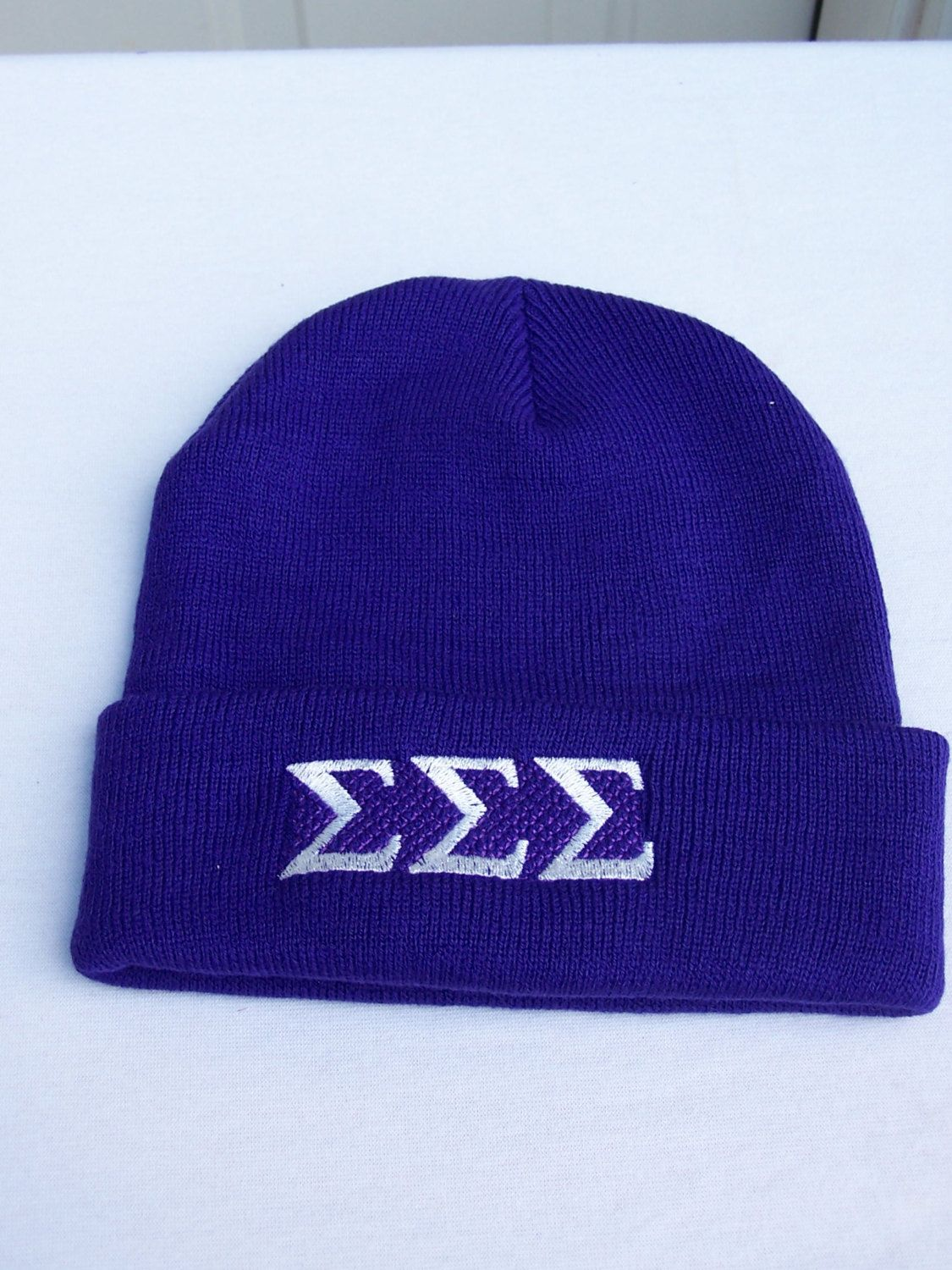 SIGMA SIGMA SIGMA Purple Greek Letter Embroidered Beanie by MoDessaDesigns  on Etsy 3c869bf9ab1