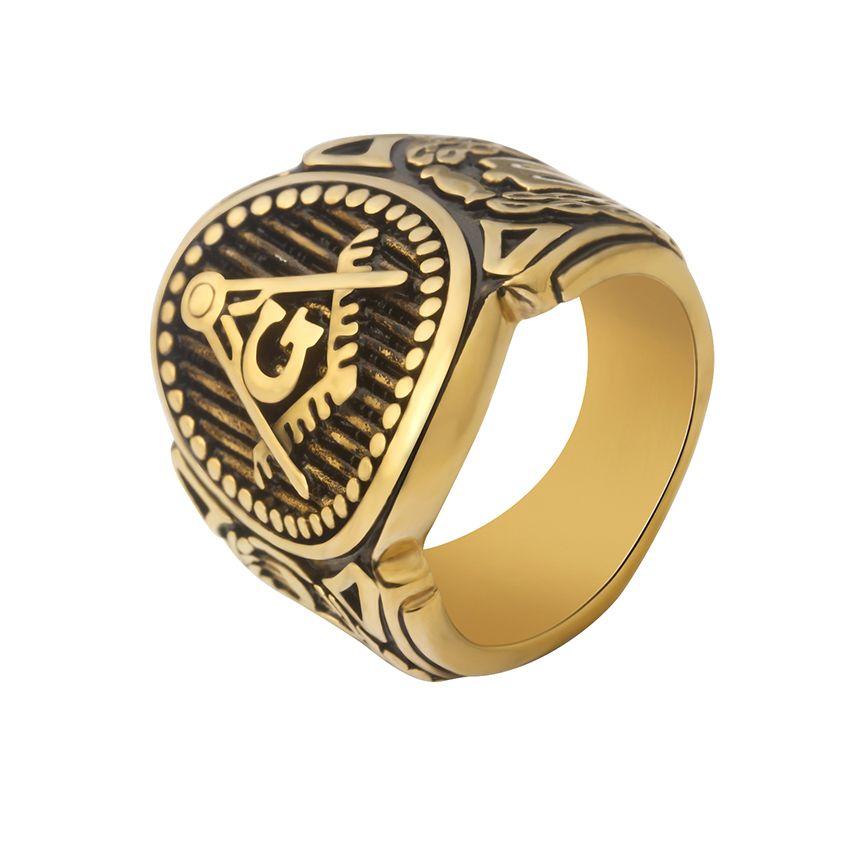 to Buy Retro Mens Masonic Rings Gold Titanium Steel
