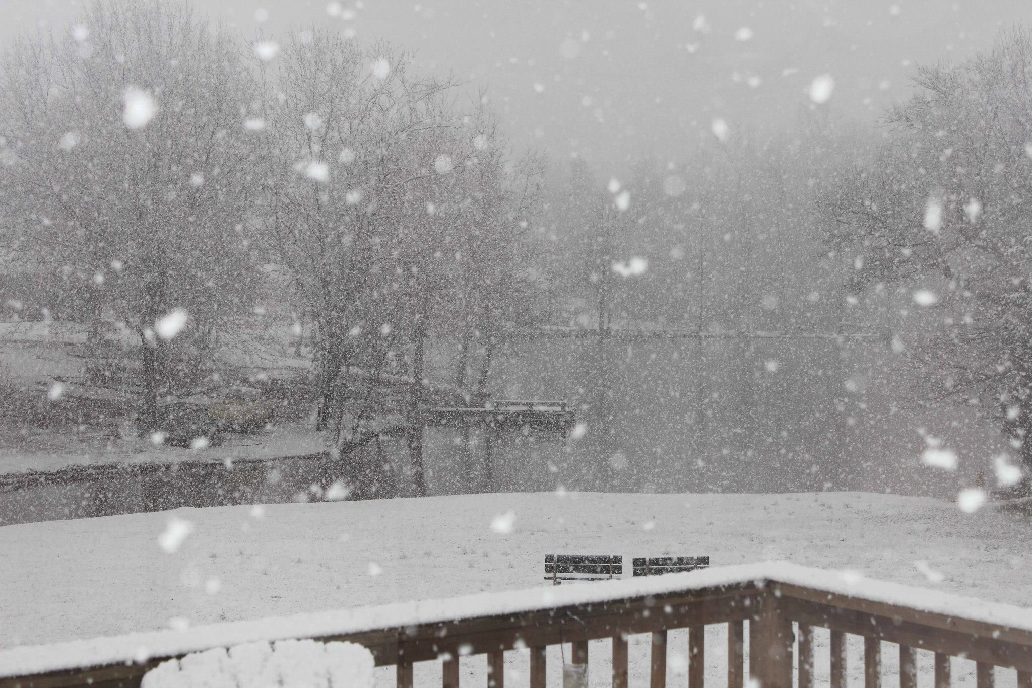 This was taken  before we rebuilt our deck. We had a lovely snow that year.  In the distance you can see our little lake. Living is SC we rarely get snow.  It eluded us this year 2014-2015