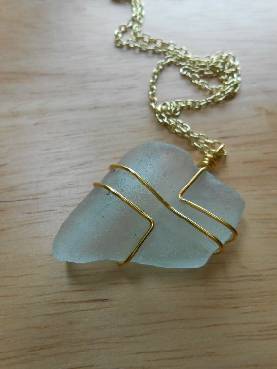 Sea glass jewelry wire wrapped beach glass necklace in the sea glass jewelry wire wrapped beach glass necklace in the heights mozeypictures Image collections