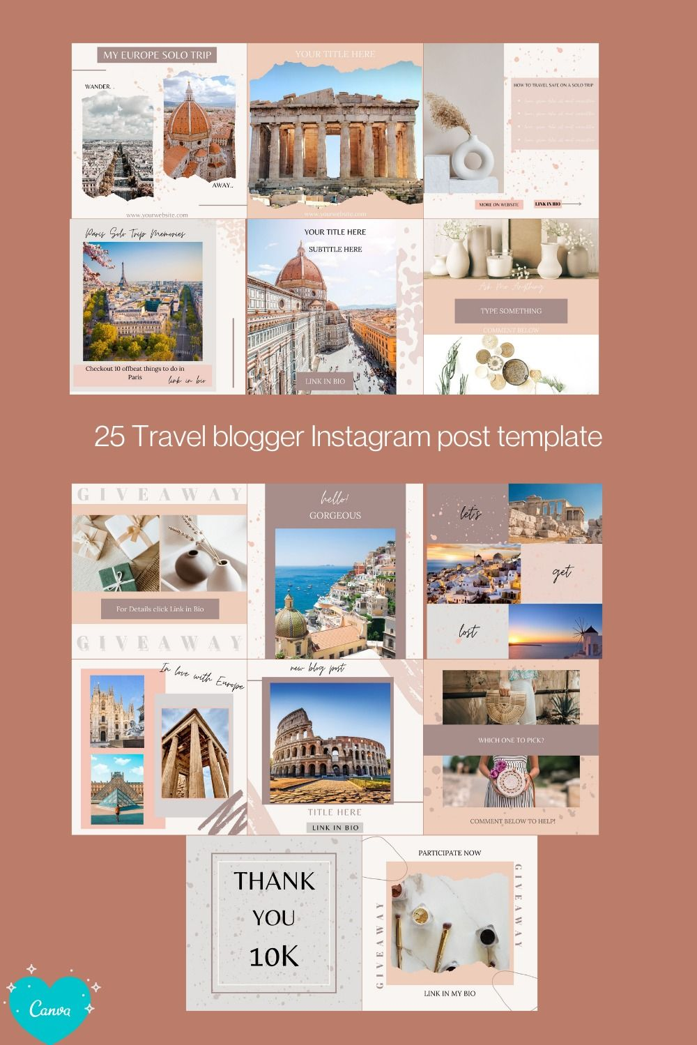Travel Blogger Instagram Templates For Canva Social Media Etsy Instagram Template Design Instagram Template Travel Blogger Instagram