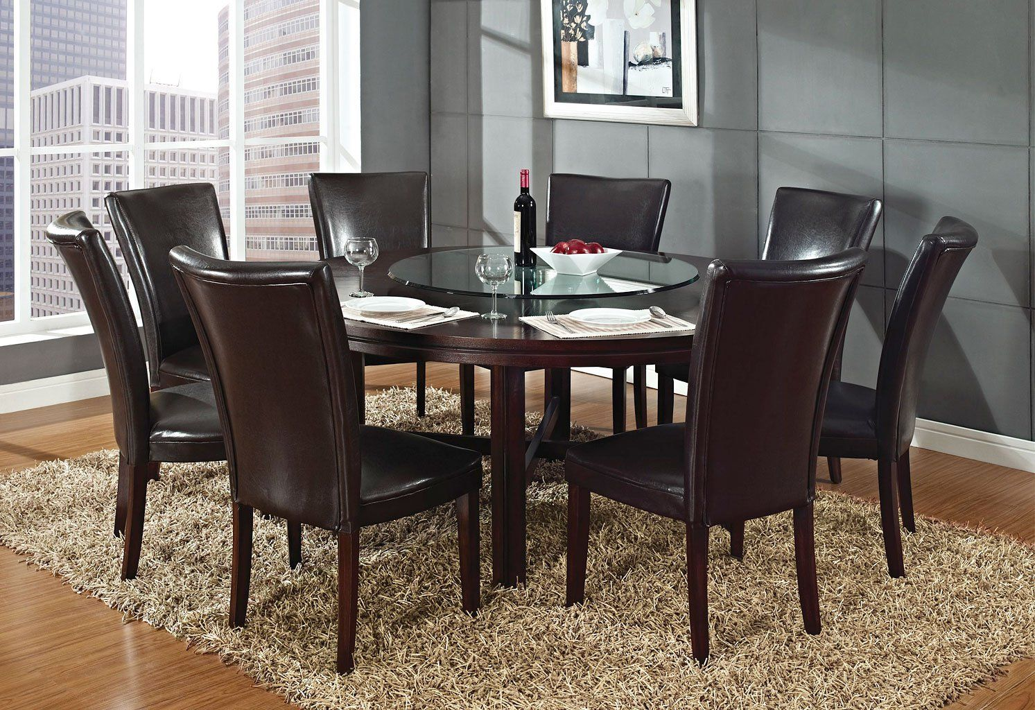 Hartford 72 Inch Round Dining Room Set In 2020 Round Dining Room