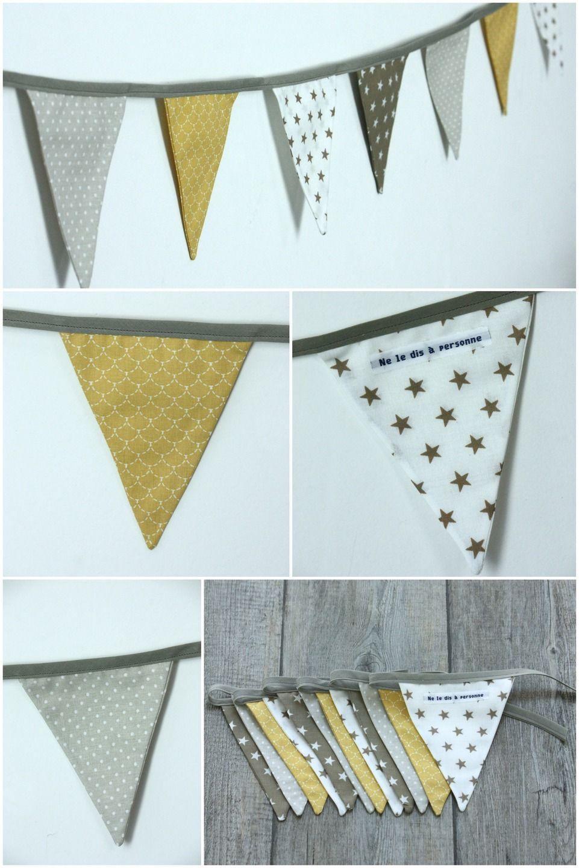 Guirlande fanions modèle 16 en tissu dans les tons de jaune ...