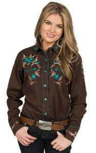 Life Style Women's Brown and Turquoise Retro Western Shirt | Cavender's