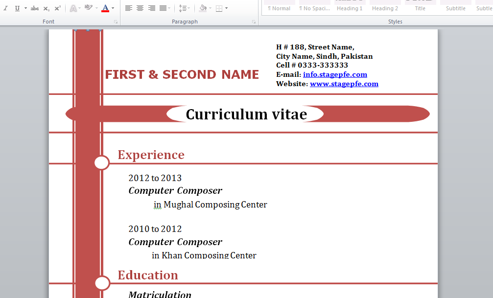 Doc Free Curriculum Vitae Template Word  Stagepfe  Free