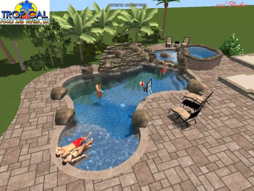 Tropical pools and pavers professional 3d pool design for Swimming pool design xls