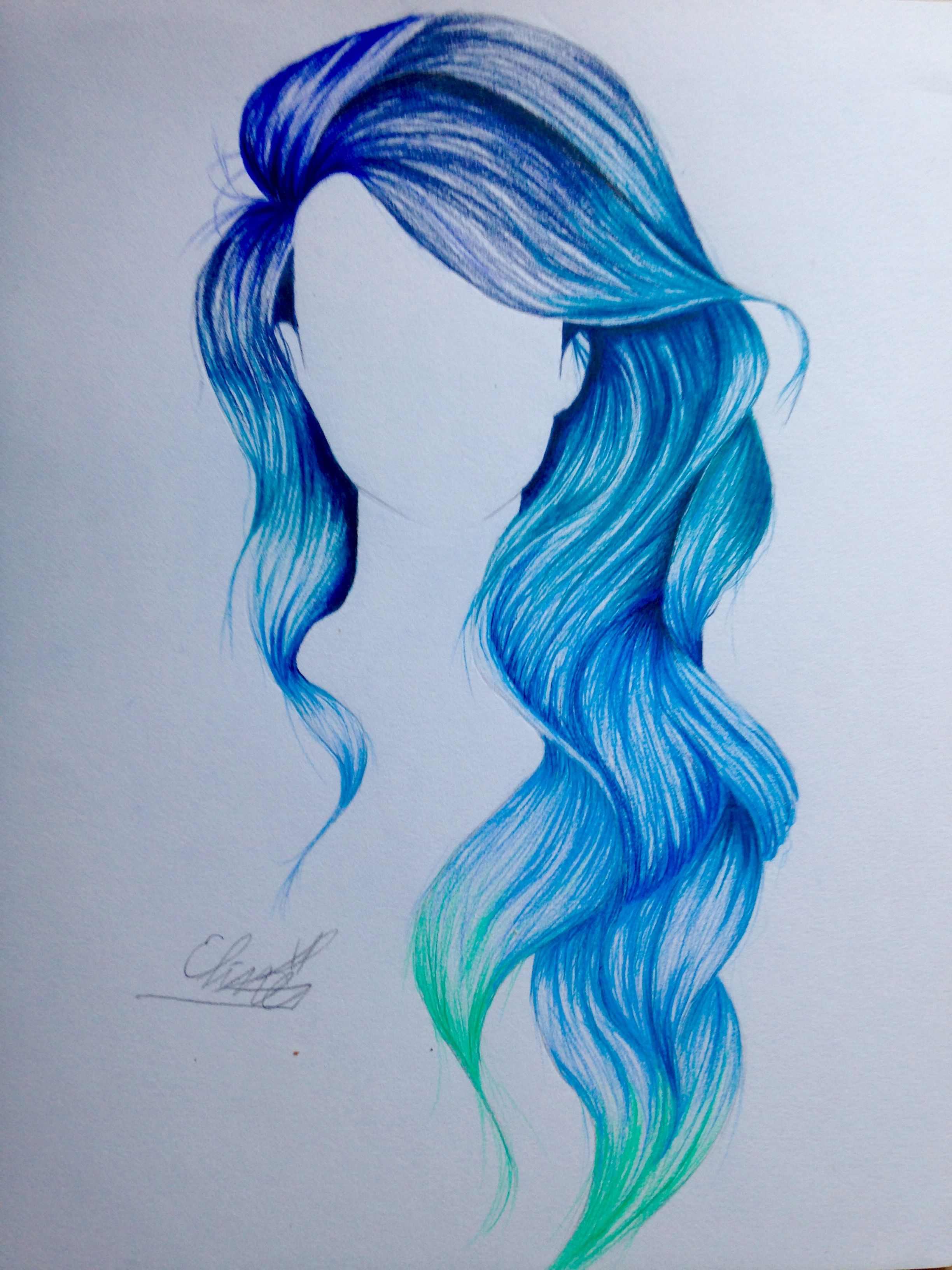 Blue mermaid ombr hair drawing. Was so much fun to draw!