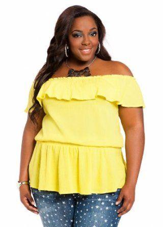 ad81bdc600e Ashley Stewart Women s Plus Size Off-the-shoulder Ruffle Peasant Top ...
