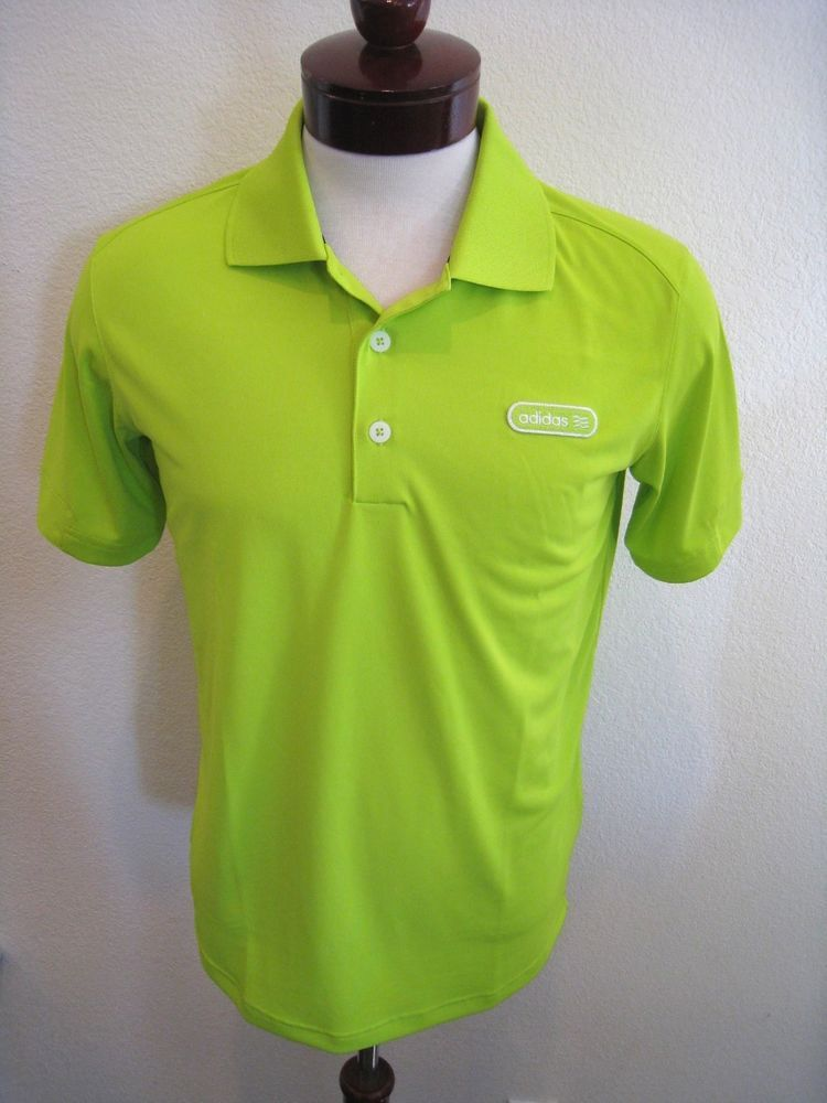 Adidas Golf Shirt Lime Green Tailored Performance Pique Polo Limeade Men's S $50 #adidas #PoloShirt