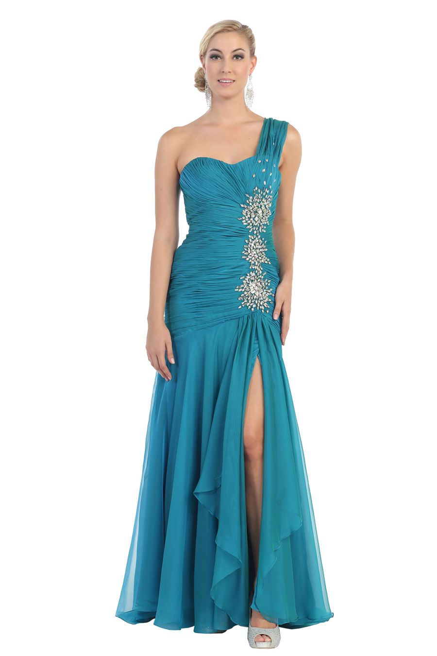 Be a prom queen in this trendy gown from May Queen MQ1013 . This ...