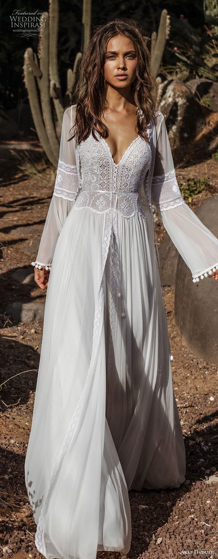 Asaf dadush bridal long lantern sleeves thin strap sweetheart