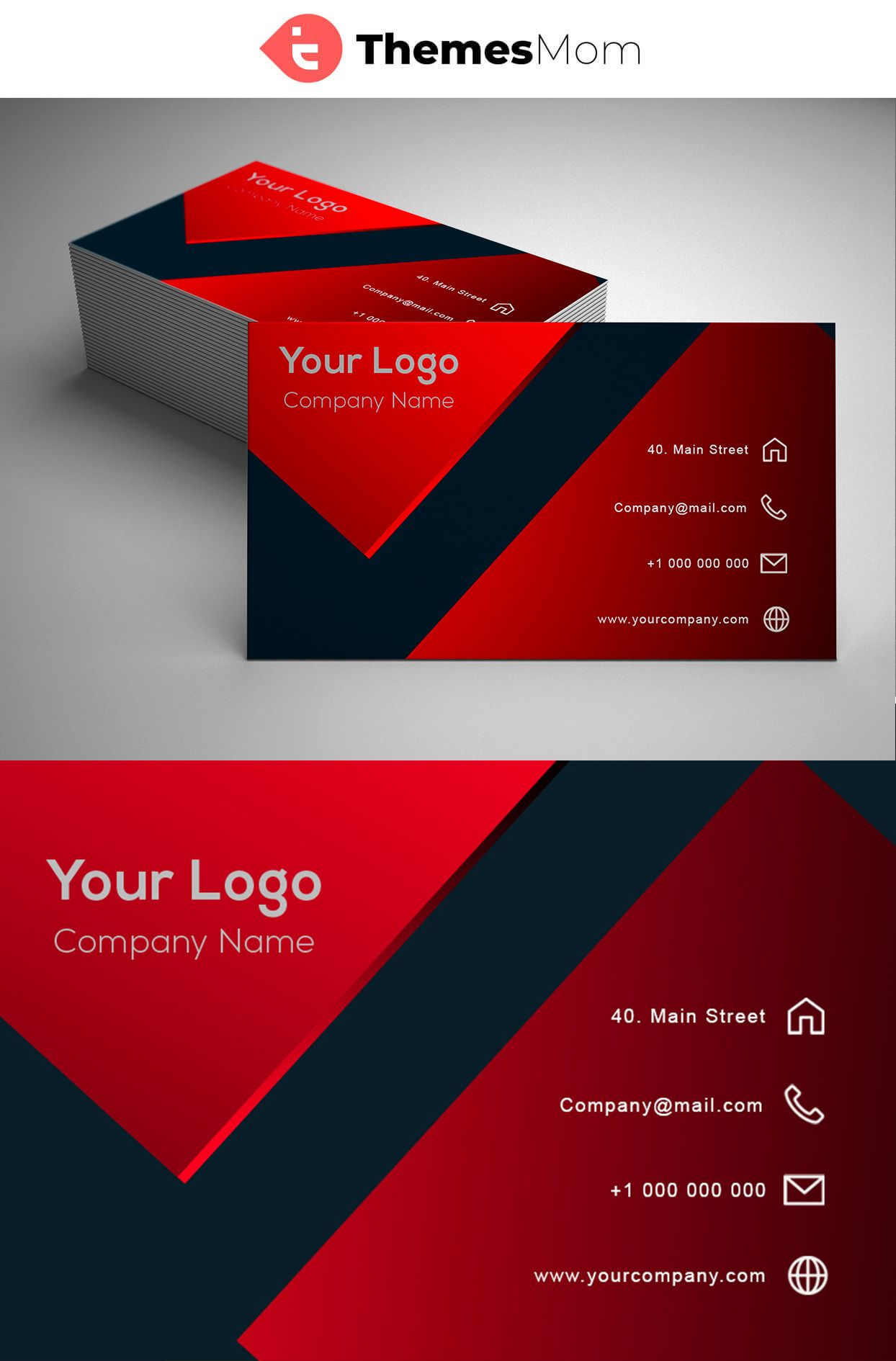Red Modern Business Card Template Themesmom Business Cards Creative Modern Business Cards Business Card Design Creative