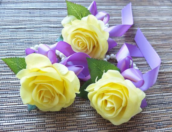 Yellow rose corsage on pearl bracelet Yellow Rose and Navy ribbon corsage Wrist Corsage