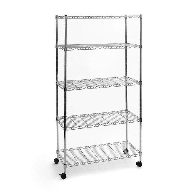 Small Wire Shelving Unit With Wheels Heavy Duty 5 Tier Storage Rack ...