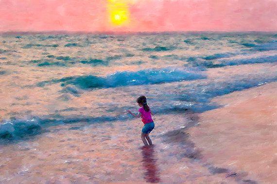 Review Beach Sun Water Girl Canvas Fine Art Digital Painting Home Decor Wall Art Contemporary Art on Etsy $120 00 Photos - Elegant sunwater Beautiful