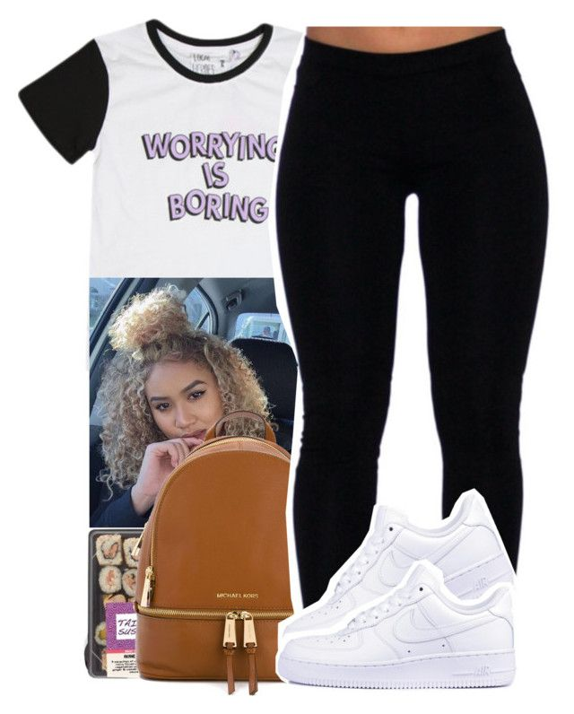 """""""worrying is boring."""" by xxsaraxtaraxx ❤ liked on Polyvore featuring MICHAEL Michael Kors and NIKE"""