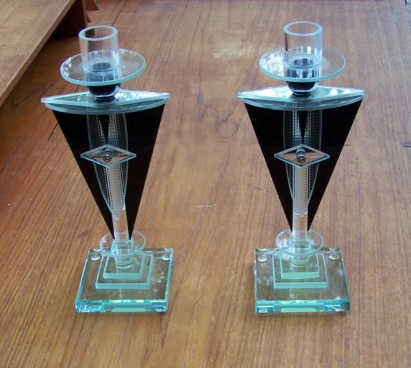 ~ Pair of Art Deco Glass Candlesticks ~ oneofakindantiques.com