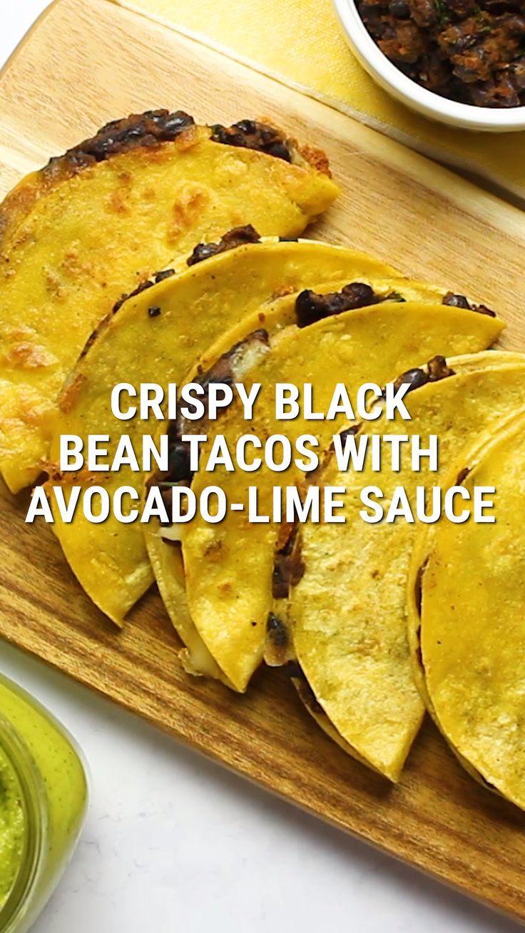 Crispy Black Bean Tacos with Avocado-Lime Sauce | FoodLove.com