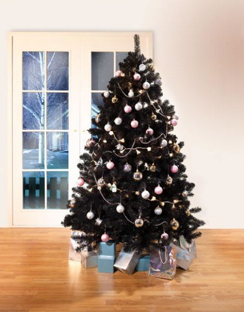 35 Black Christmas Tree Ideas 'coz everything else is just Background Noise #blackchristmastreeideas