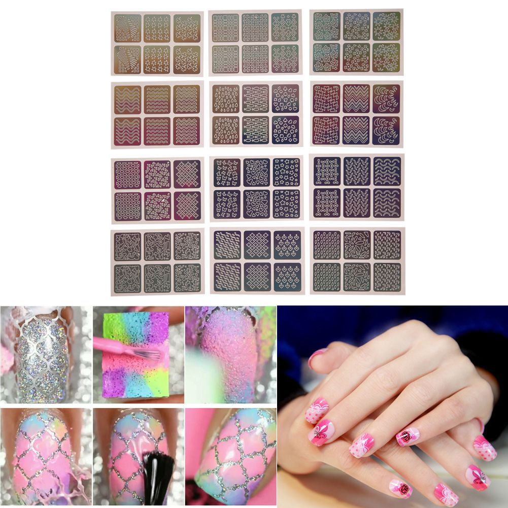 Special Nail Art Hollow Out Stencil Sticker Polish Gel 3D Laser Image Decals Manicure Nails