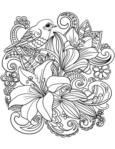 Skylark and flowers #Coloring pages #Adult coloring #Adult coloring ...
